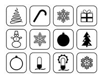 Uppsättning av vektorsymboler för jul och nytt år Royaltyfri Fotografi