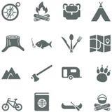 Uppsättning av vektorsymboler för turism, lopp och campin Arkivbilder