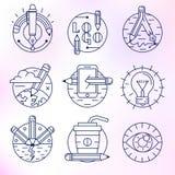 Uppsättning av vektorsymboler i modern linjär stil royaltyfri illustrationer