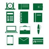 Uppsättning av vektorsymboler med beståndsdelar av affären, arbete och kontoret Arkivfoto