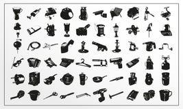 Uppsättning av vektorsymboler på dagliga objekt för ett tema i svartvitt vektor illustrationer