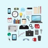 Uppsättning av vektorsymboler på temat av affären, kontor Stock Illustrationer
