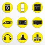 Uppsättning av vektorsymboler på temat av mat- och hushållanordningar Fotografering för Bildbyråer