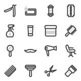 Uppsättning av vektorsymboler på temat av tillbehör för frisyrer som utformar för skönhetsalongen Royaltyfri Foto