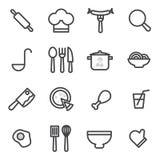 Uppsättning av vektorsymboler som lagar mat, mat som är sund på en ljus bakgrund Arkivbilder