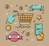 Uppsättning av vektorsymboler, symboler på ämnet av shoppinginfographicsen Arkivfoto