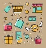 Uppsättning av vektorsymboler, symboler på ämnet av shoppinginfographicsen Arkivbilder