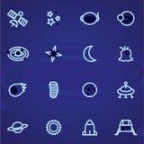 Uppsättning av vektorsymbols- och logoutrymme, stjärnor, planeter, universum, raket, måne på en mörk bakgrund Royaltyfri Fotografi