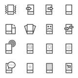 Uppsättning av vektorsymbolsmobiltelefoner, minnestavlor och smartphones på en ljus bakgrund Arkivbild