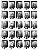 Uppsättning av vektorteckenet från run- alfabet på stenar Arkivfoto