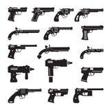 Uppsättning av vektorvapen, handeldvapen och pistoler Arkivfoto