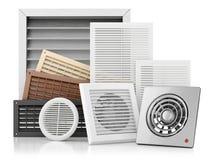 Uppsättning av ventilationsskyddsgallrar stock illustrationer