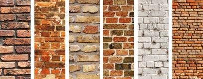 Uppsättning av vertikala baner med texturer av tegelstenväggar Royaltyfria Foton