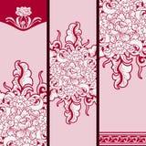 Uppsättning av vertikala baner som baseras på kinesisk målning på porslin RÖTT BLOM- MÖNSTRAR vektor illustrationer