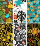 Uppsättning av vertikala kort med fåglar och flora Royaltyfri Fotografi