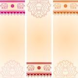 Uppsättning av vertikala lotusblomma- och elefantindierbaner stock illustrationer