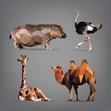 Uppsättning av vilda djur i stilen av origami också vektor för coreldrawillustration Royaltyfri Fotografi