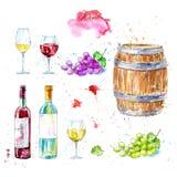 Uppsättning av vin, flaska, exponeringsglas, trätrumma och druvor vektor illustrationer