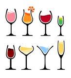 Uppsättning av vinexponeringsglas royaltyfri illustrationer