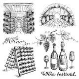 Uppsättning av vinflaskor och trummor i vinodling eller källare stock illustrationer