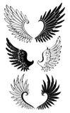 Uppsättning av vingar för tatuering stock illustrationer