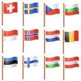Uppsättning av vinkande flaggor Fotografering för Bildbyråer