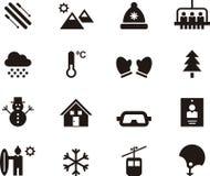 Uppsättning av vinter- och skidåkningrengöringsduksymboler vektor illustrationer