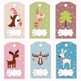 Uppsättning av vintergåvaetiketter stock illustrationer