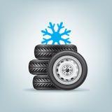 Uppsättning av vinterhjul Fotografering för Bildbyråer