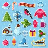 Uppsättning av vinterklistermärkear Ferieobjekt och symboler för glad jul, för lyckligt nytt år royaltyfri illustrationer