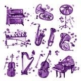 Uppsättning av violetta vattenfärgmusikinstrument Fotografering för Bildbyråer