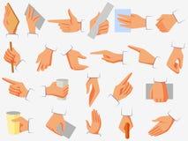 Uppsättning av visning för handgest och att peka, rymma och görande andra aktiviteter vektor illustrationer