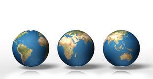 Uppsättning av visningjord för jordklot 3D med alla kontinenter Royaltyfri Bild