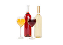 Uppsättning av vit och rosa vinflaskor, glas. Arkivbild