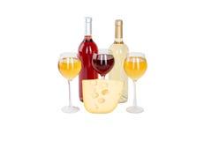 Uppsättning av vit och rosa vinflaskor, glas. Arkivfoton