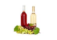 Uppsättning av vit och rosa vinflaskor, glas och röda och vita druvor för ost. Royaltyfria Foton