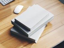 Uppsättning av vit som brännmärker böcker på tabellen 3d Royaltyfri Foto