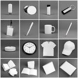 Uppsättning av vita beståndsdelar för design för företags identitet Royaltyfri Bild