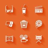 Uppsättning av vita biofilmsymboler Arkivbild