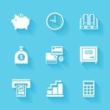 Uppsättning av vita finans- och pengarsymboler Arkivfoto