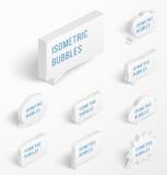 Uppsättning av vita isometriska bubblor med droppskugga Royaltyfri Bild
