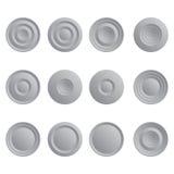 Uppsättning av vita knappar Arkivfoto