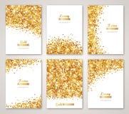 Uppsättning av vita och guld- baner royaltyfri illustrationer