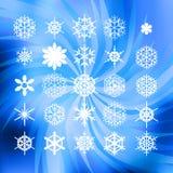 Uppsättning av vita snöflingor för designgarneringwebsite eller broschyr Royaltyfri Bild