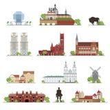 Uppsättning av Vitryssland landsbyggnader, berömda ställen i plan stil Scrapbooking hand som drar satsen stock illustrationer