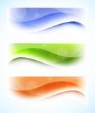 Uppsättning av wavy baner stock illustrationer