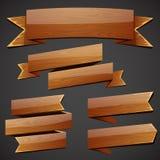 Uppsättning av wood baner Royaltyfria Foton