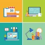 Uppsättning av workspace formgivare affär, student stock illustrationer
