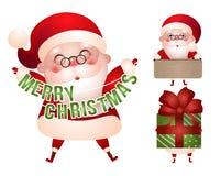 Uppsättning av xmas-illustrationer av det Santa Claus teckenet Arkivfoton