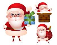 Uppsättning av xmas-illustrationer av det Santa Claus teckenet Royaltyfria Foton